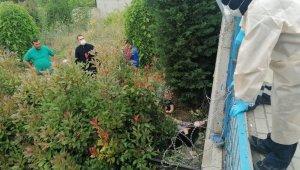 Yaşlı kadın 3 metrelik istinat duvarından ağaçlık alana düştü
