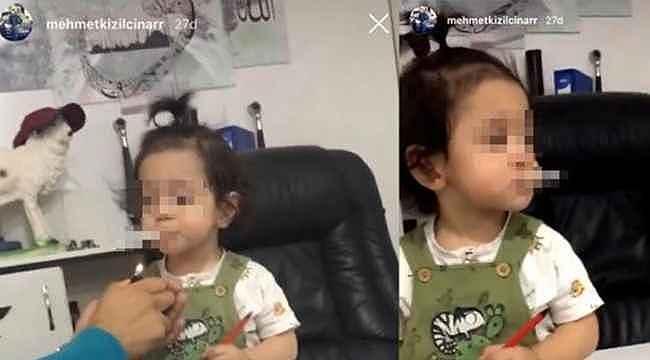Bir skandal görüntü daha... Bu kez küçük çocuğa 'babası' sigara içirdi