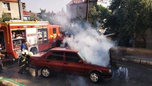 Denizli'de otomobil yangını