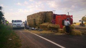 Freni boşalan kamyon, orta refüje çarparak yan yattı
