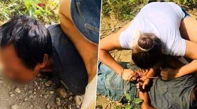 Genç kadın duyduğu çığlıklar üzerine bölgeye koştu, çocuğu sapığın elinden kurtardı