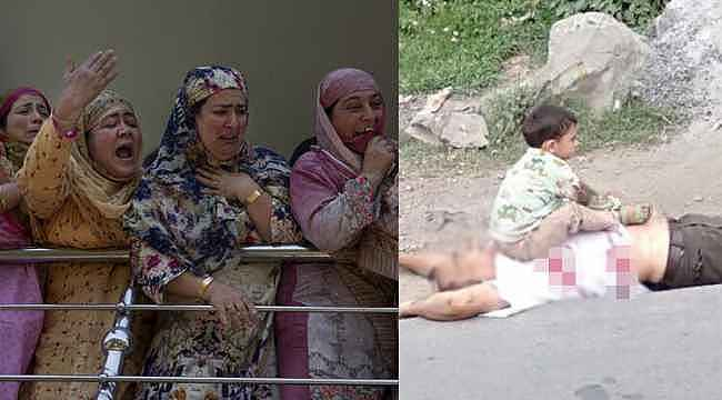 Keşmir'de infial çıkartan kare...