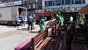 Osmangazi'de yaya yoluna kurulan çay ocağı kaldırıldı - Bursa Haberleri