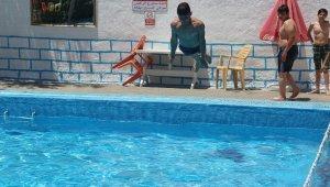 Sıcaktan bunalan gençler havuzda serinliyor