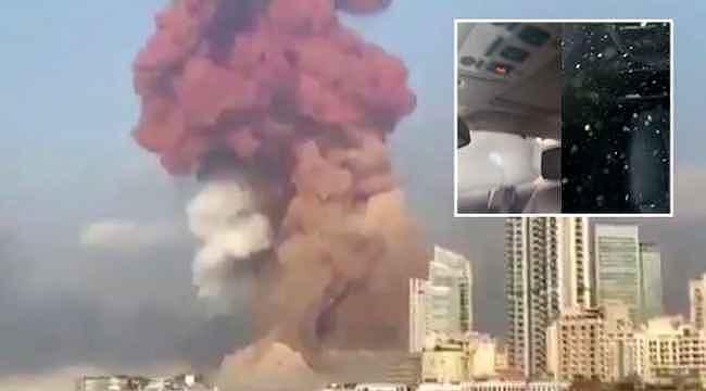 Beyrut'taki patlama, yüzlerce metre uzaklıktaki aracın camlarını paramparça etti