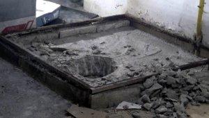 Cani damat boğduktan sonra üzerine beton dökmüş