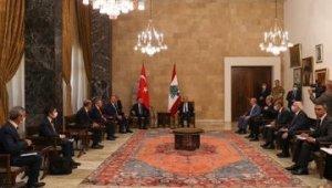 Cumhurbaşkanı Yardımcısı Oktay ve Bakan Çavuşoğlu, Lübnan Devlet Başkanı tarafından kabul edildi