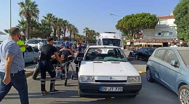 Kuşadası'nda otomobil yayaya çarptı; 1 yaralı