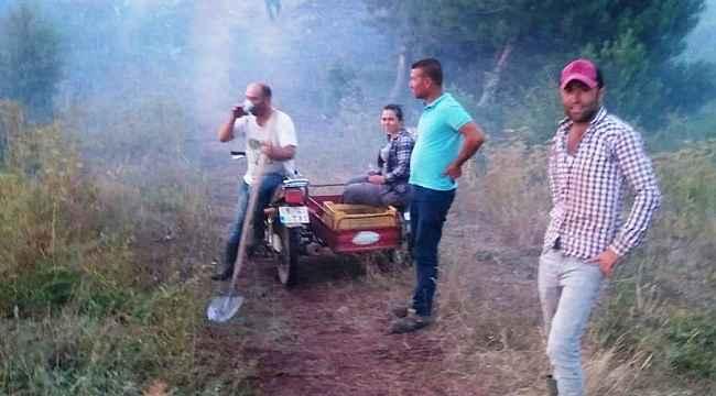 Orman yangınına ilk müdahale köylülerden