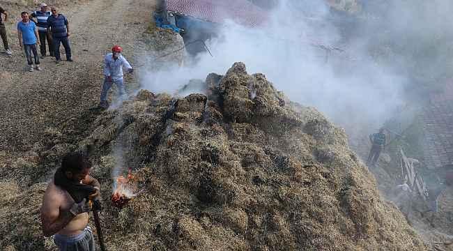 Semaverden çıkan kıvılcım 1600 balya samanı kül etti
