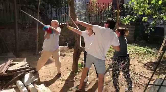 Beykoz'da komşular arasında kavga kamerada