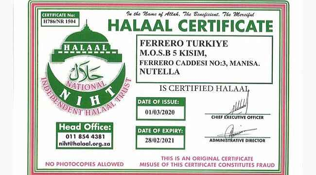 Nutella Türkiye üretim sertifikalarını açıkladı