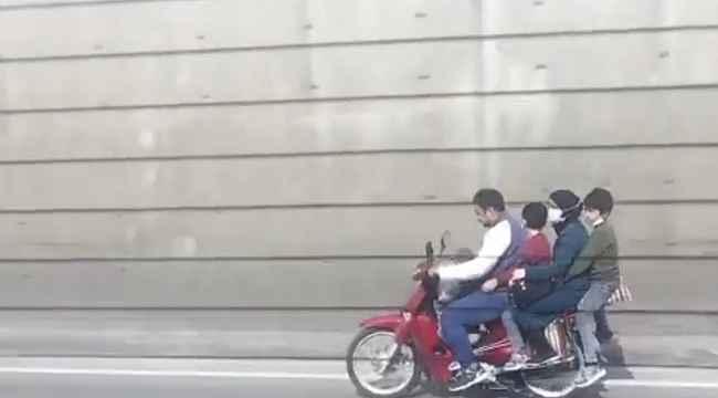 Bursa'da motosiklet üzerinde tehlikeli yolculuk