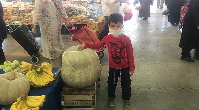 Çan pazarındaki 40 kiloluk kabak büyük ilgi gördü