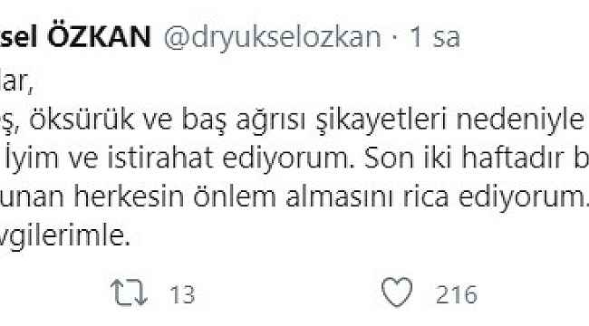 CHP Bursa Milletvekili Özkan, korona virüse yakalandı