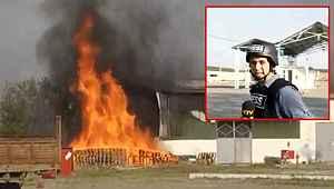 Ermenistan Terter'de fabrika vurdu, muhabir patlamaya canlı yayında yakalandı
