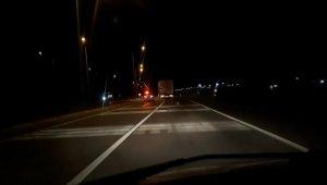 Erzincan'da freni arızalanan tır kilometrelerce kontrolsüz seyretti