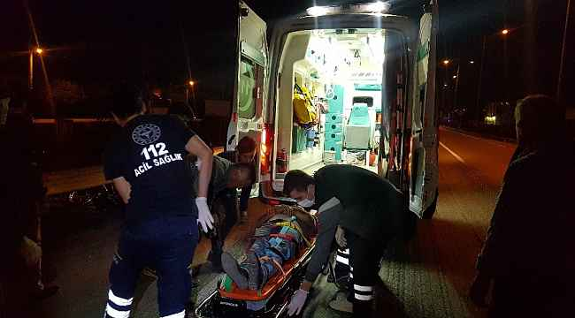 Motosikletten savrulan sürücü ağır yaralandı