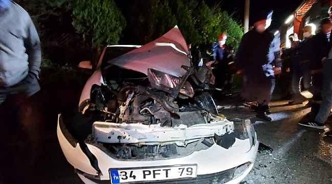 Tırla çarpan otomobilin sürücüsü yaralandı