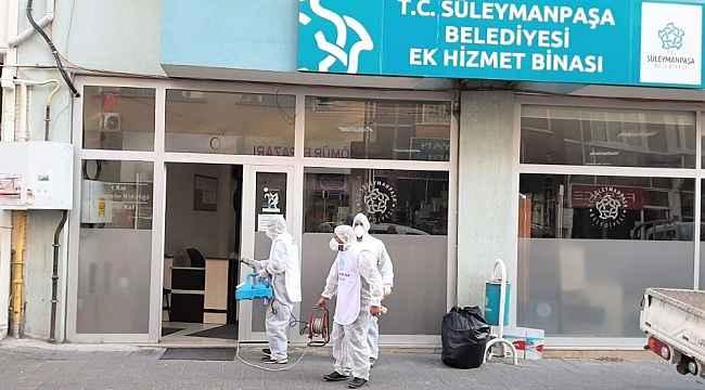 Belediye binaları salgın riskine karşı dezenfekte edildi