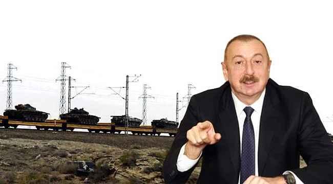 Ermenilerden ele geçirilen tank ve toplar Bakü'ye götürüldü