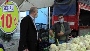 Kartal'da semt pazarında korona virüs denetimi