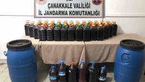 Bayramiç'te 305 litre bandrolsüz içki ele geçirildi