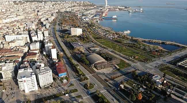 Samsun'da kısıtlama havadan görüntülendi