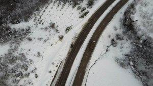 Bartın'da eşsiz kar manzarası drone ile havadan görüntülendi