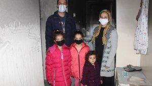 Beş kişilik aile yangında evsiz kaldı