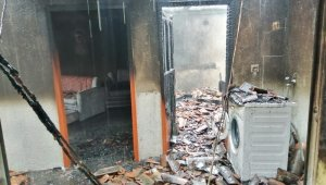 Çan'da ahşap ev yangını