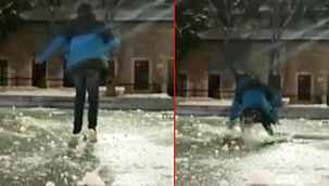 """Donmuş süs havuzu üzerinde """"yürürüm"""" iddiası kötü bitti - Bursa haberleri"""