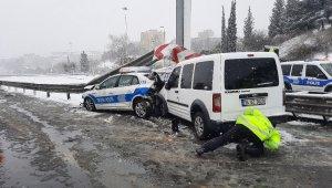 Fatih Sultan Mehmet Köprüsü girişinde iki polis aracı çarpıştı: 3 yaralı