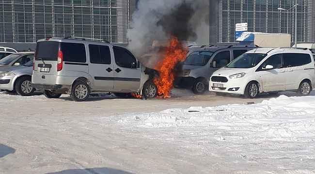 Hastane bahçesinde eksi 32 derecede yangın paniği