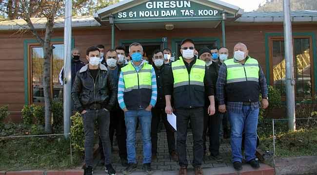 Kamyonculardan Giresun Limanı'na destek