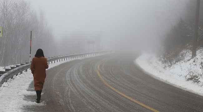 Kartepe'de kar kalınlığı 20 santime ulaştı