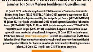 """ÖSYM Başkanı Aygün: """"2020-ALES2, 2020-YÖKDİL2, 2020-DİB-MBSTS ve 2020-DHBT sınavları için 21-22 Ocak 2021 tarihlerinde sınav merkezi tercihleri güncellenebilecektir."""""""