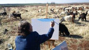 Siverekli çoban, usta ressamlara taş çıkartıyor