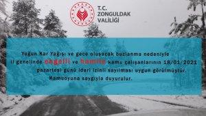 Zonguldak'ta eğitime 1 gün ara