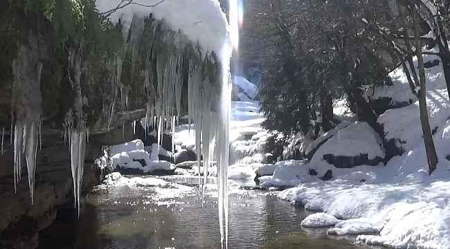 Doğa harikası şelale buz tuttu, görenler hayran kaldı
