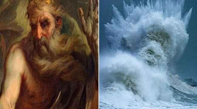 Fransız fotoğrafçı dev dalgalar arasında Poseidon'ın silüetini yakaladı