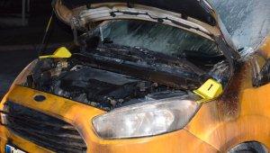 Tartıştığı kişinin aracına benzin döküp ateşe verdi