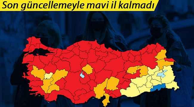 Türkiye koronavirüs vaka haritası güncellendi... Mavi il kalmadı