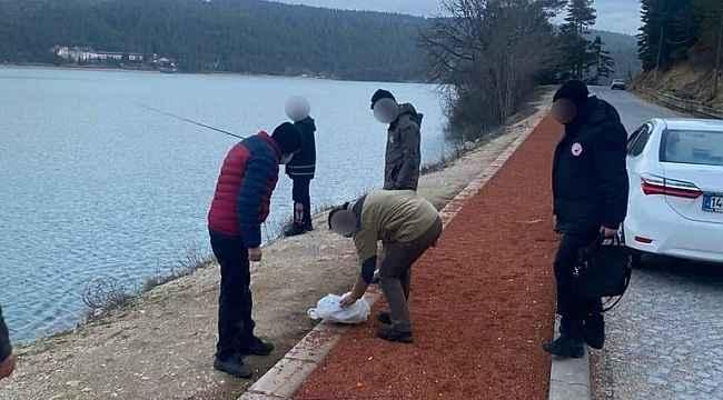 Abant'ta kaçak balık avlayan 3 kişiye para cezası
