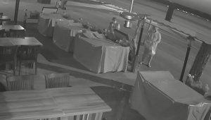 Alanya'da restoran önünden çiçek hırsızlığı kamerada