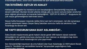 BB Erzurumspor'dan hakem Suat Arslanboğa'ya tepki