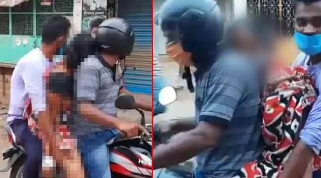 Cansız bedeni motosikletle böyle taşıdılar