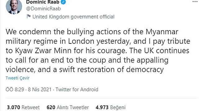 """İngiltere Dışişleri Bakanlığı'ndan Myanmar'a büyükelçi tepkisi: """"Askeri rejimin zorbalığını kınıyoruz"""""""