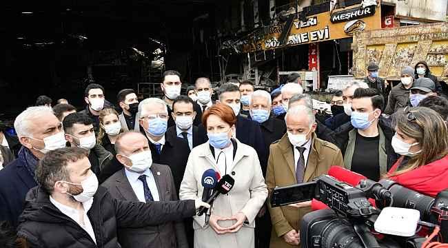 İYİ Parti lideri Akşener yangında zarar gören Kasaplar Çarşısı esnafını ziyaret etti