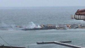 Şile'de gemide yangın paniği